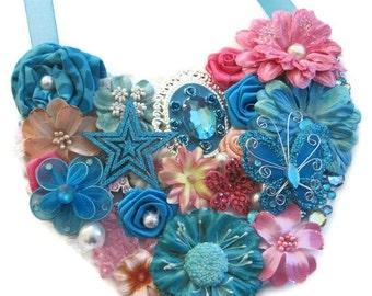 Blue Pink Marie Statement Bib Necklace