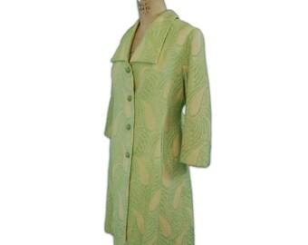 1960s Vintage Citrus Green Paisley Coat
