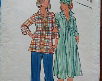"""Casual 70s glam- Butterick 4828- cute smock dress or tunic top and pants- B32.5"""" cut pattern think gingham denim crepe chambray or challis"""