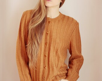 Vtg 70's camel color cardigan size S