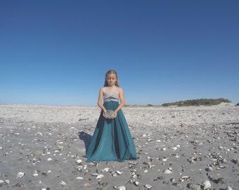 Girls Two-Toned Long Aline Infinity Dress- Octopus Infinity Twirl Dress-Any fabric-Flower Girl, Birthday Dress, Wrap Dress