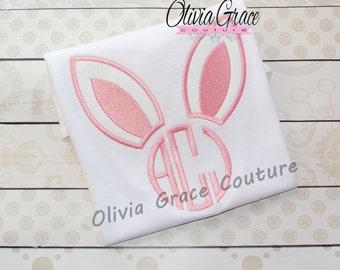Girls Easter Shirt,  Boys Easter Shirt, Monogrammed  Bunny Shirt, Embroidered Applique Shirt or Bodysuit
