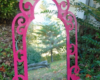 PRINCESS Wall Mirror, Curly Ornate, Shown in HOT PINK ,Cute Nursery Mirror, 40 inches Tall x 22 wide.