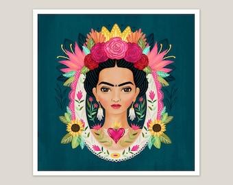 Frida Kahlo Floral Portrait - Art Print 8x8