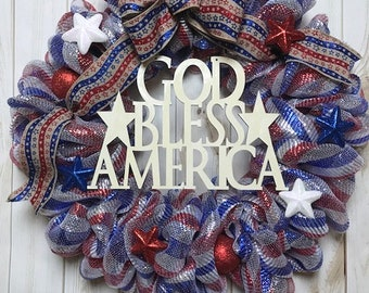Veterans Day Wreath, Labor Day Wreath, Patriotic Wreath, God Bless America Wreath, Independence Day Wreath, Fourth of July Wreath