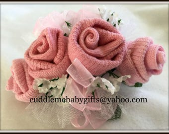 Baby Shower Corsage-Baby Sock Corsage-Baby Girl Sock Corsage-Baby Shower Gift-Baby Shower Decorations-Baby Shower Favors-Baby Girl-Baby Gift