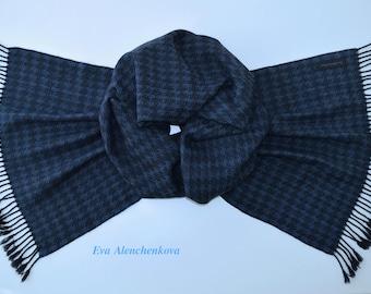 Blue Merino Wool Cashmere Handwoven Scarf