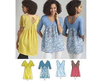 Simplicity Pattern 8387 Misses' Knit and Woven Top with Back Interest. Size XXS-XXL. Pattern is new and uncut.