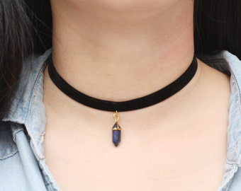 Lapis Lazuli Choker Necklace, Velvet Choker, Unique Choker, Crystal Choker, Gift for Womens, Unique Gifts, Fahion Necklace