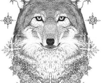 animal wolf digital print decor bedroom christmas printable