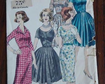Vogue 5121 1960 Shirtwaist Dress Slim or Full Skirt Size 16 Bust 36 Mad Men