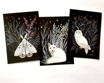 Black and white Animal with Flora - Postcard, watercolor illustration, white fox, snow owl, moth, red berries, gold