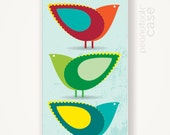 Birds iPhone case black plastic case for iPhone 5 with 3 little birds with pastel spring colors case for iPhone 5