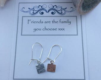 Sterling Silver Hand Stamped Square Earrings for a Friend