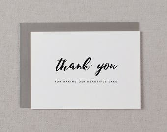 Thank You For Baking - Wedding Cake Baker Card, Card For Your Wedding Cake Designer, Wedding Card, Wedding Thank You, Wedding Baker Card, K8