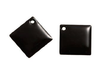 Set of 2 Black diamonds copper enameled 24 mm x 24 mm sequins