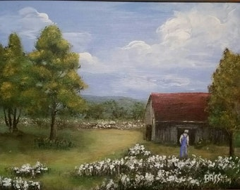 Old Barn and Cotton Field Original Painting with Frame