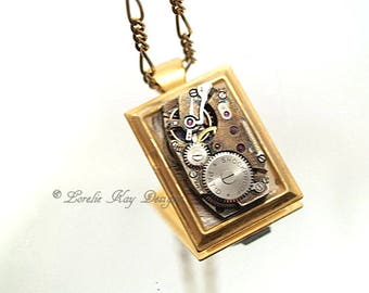 Simple Steampunk Necklace Watch Parts Resin Brass Bezel One-of-a-Kind Pendant