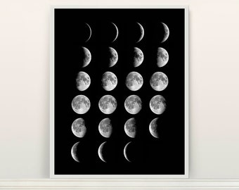 Moon Phases Poster - Moon Art - Moon Poster - Moon - Outer Space - Telescope - Astronomy - Moon Phases Art - Full Moon - Astronomy Poster