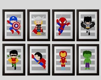 superhero 5x7 inch PRINTS, superhero high quality prints, shipped to your door, set of 8, superhero bedroom wall decor, superhero nursery