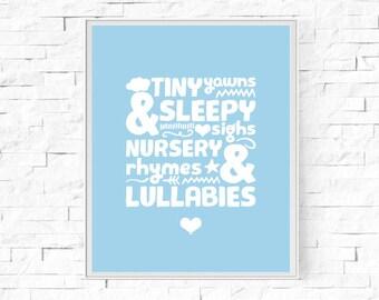 """Printable Tiny Yawns Sleepy Sighs Blue Digital Print - Instant Download - Nursery Rhymes - Baby Boy - Nursery Wall Decor - 8""""x10"""" & A4"""