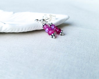 Hot Pink Moonstone Post Dangle Earrings Simple Bali Sterling Silver Blue Flask Neon Pink Gemstone Petite Modern Earrings  Gift for Her