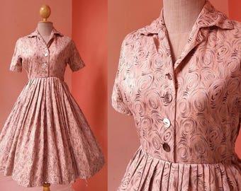 50s Dress Vintage 1950s Dress Women Swing Dress Shirt Dress Collar Dress Button Front Dress Pleated Dress Mini Dress Short Sleeve Dress XS