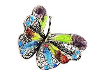 Italy 800 Silver Plique-a-jour Enamel Butterfly Figural Broch