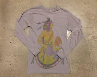 Vintage 1970's Bradford Mfg. Corp. Native American Print Long Sleeve T-Shirt