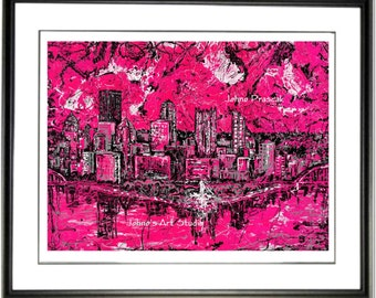 Hot Pink, Pink Pittsburgh, Pink wall art, Pittsburgh Skyline art, Print by Johno Prascak, Johnos Art Studio