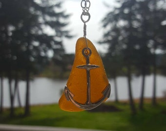 Light Brown Authentic Sea Glass Necklace with Anchor Charm