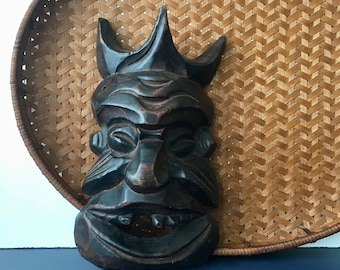 vintage carved wood mask Tribal Voodoo Global boho decor