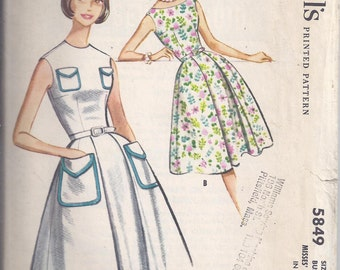 McCalls 5849 Dress Sewing Pattern from 1961:  Sleeveless dress, fitted bodice, flared skirt.  Bust 34