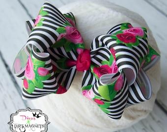 Peony Stripes Hair Bow - Black and White Stripes Hair Bow - Peony Hair Bow - Double Layered Boutique Bow