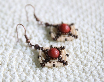 Gemstone Series – Bead Woven Earrings in Red / Creamy White
