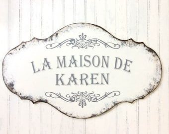 Custom Personalized French sign, hand painted, Custom cottage sign, Mother's day sign, Laundry room sign, French country, Cottage chic