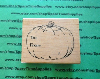 To/From Pumpkin - Mounted Rubber Stamp - #DEL - H830