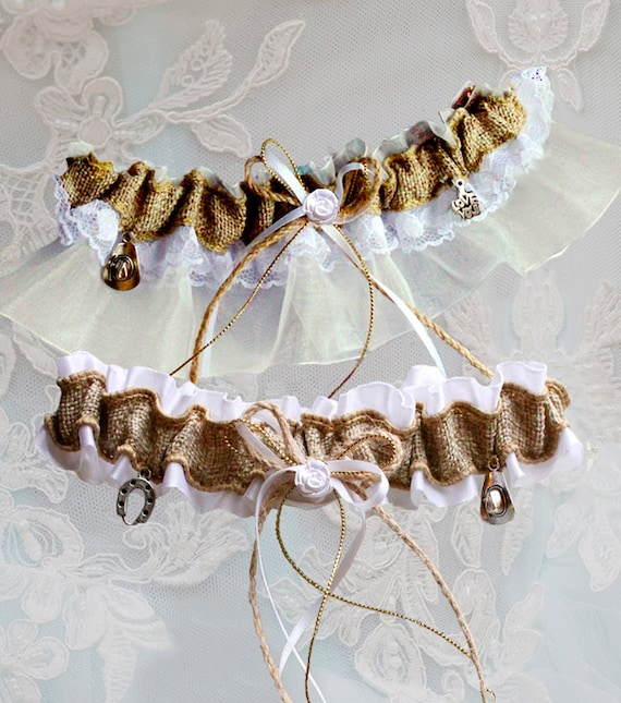 Country Wedding Garters: Country Wedding Garter Cowboy Country Lace Garter Burlap