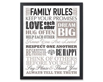 Family values House Rules Family Rules Sign Family Rules decor Christian Wall Art Family Rules Poster Christian decor Christian gifts Print