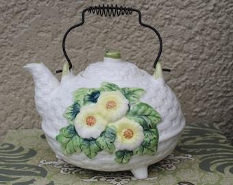 Vintage Japan Teapot, Floral Design, Metal Handle, Vintage Tea Kettle