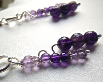 Pink and Purple Amethyst Sterling Silver Earrings February Birthstone