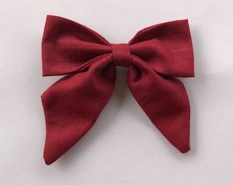 Sailor Bow -- Headband or Clip -- Christmas Red