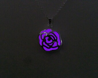 Purple Glow in the Dark, Fluorescent Glowing Jewelry, Glowing Necklace, Glowing rose flower pendant, Gift for Her, Christmas gift, Xmas