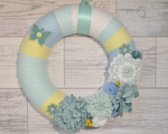 Sale - Spring Wreath - Wreath - Floral Wreath - Flower Wreath - Felt Wreath - Home Decor - Summer Wreath - Wall decor - Gifts For Her -