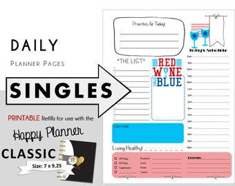 "CLASSIC Happy Planner DAILY Insert Printable Singles  Create365 | mambi | Me & My Big Ideas - PDF ""Red Wine and Blue"""