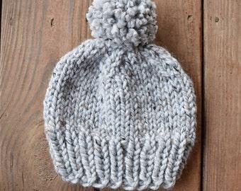 Basic Chunky Knit Pom Pom Beanie   Gray Marble