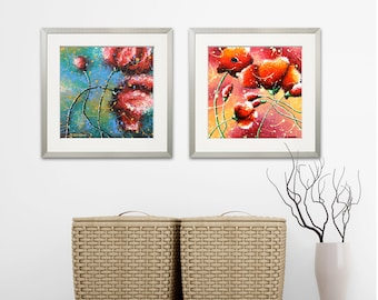 2 Piece Wall Art Big Red Poppies Art Prints, Set of 2 Poppy Art Bedroom Wall Decor