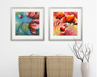 2 Piece Wall Art Big Red Poppies Art Prints, Set of 2 Poppy Art Bedroom Wall Decor