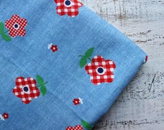 Vintage cotton fabric 1.3 yards red blue denim boho floral