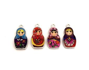 Charms Matriochkas Russian doll enamel individually or in packs of 4 units (unisex)